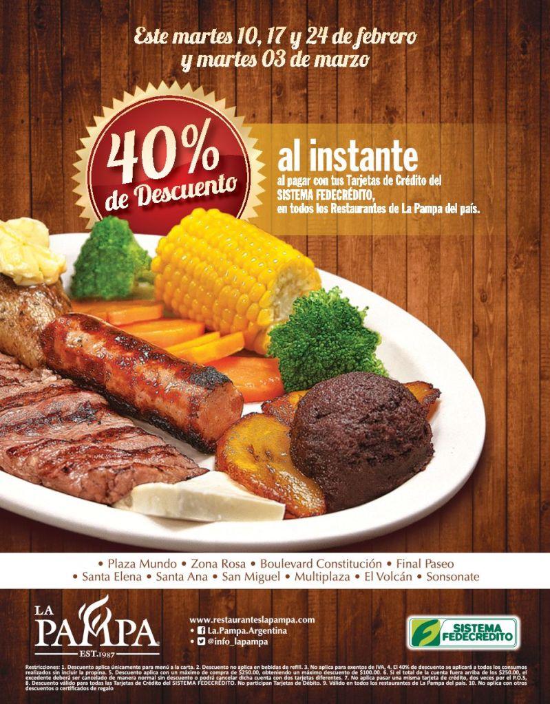 40 OFF restaurant LA PAMPA gracias a sistema fedecredito - 10feb15