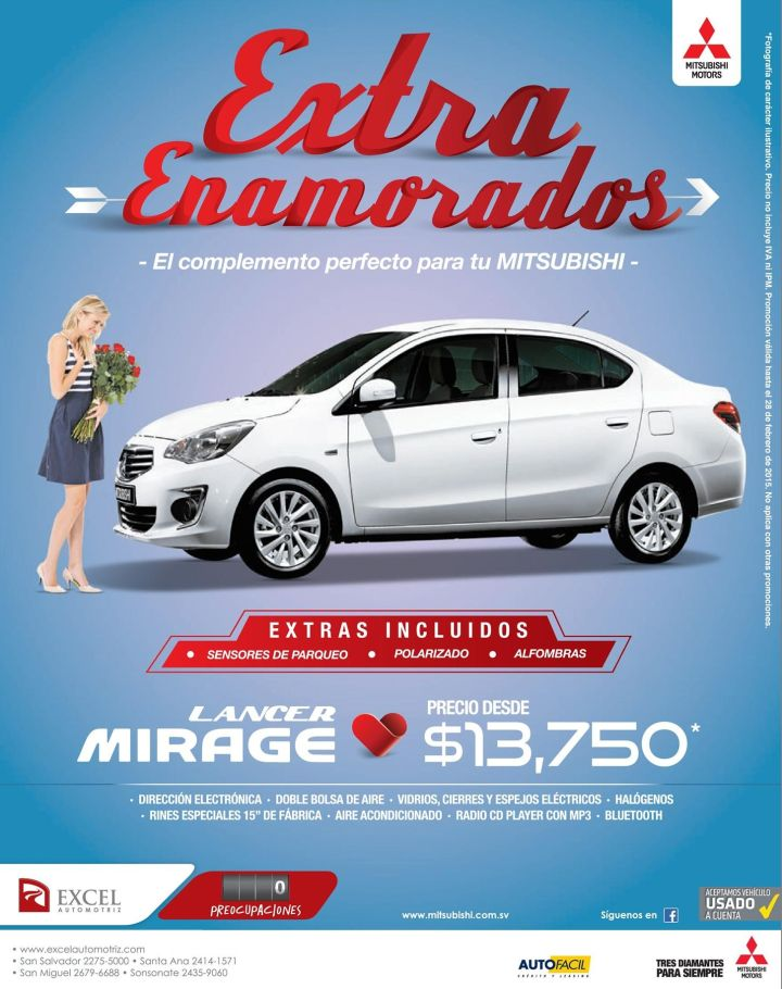 Extra in love MITSUBISHI mirage 2015 promotions - 16feb15