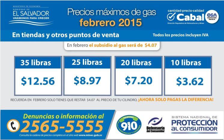 Precios maximos de gas FEBRERO 2015