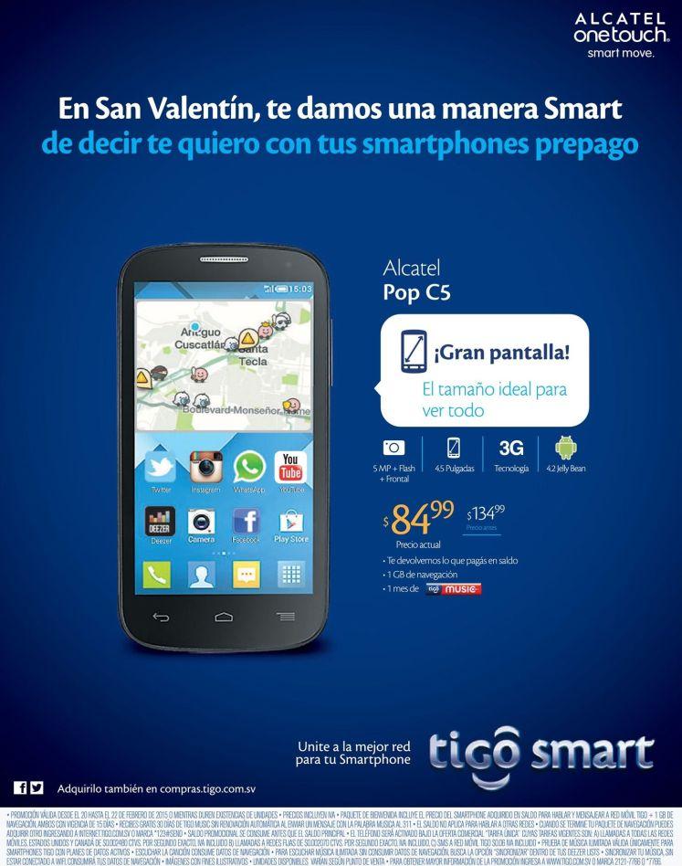 TIGO Alcatel POP C5 oferta rebajado - 20feb15