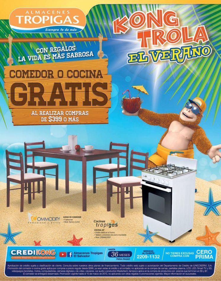 Comedor o Cocina GRATIS por tus compras en almacenes tropigas el salvador - 12mar15