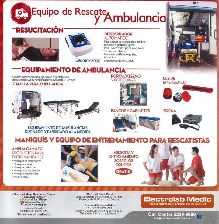 Equipo de recate y ambulancia con paramedicos