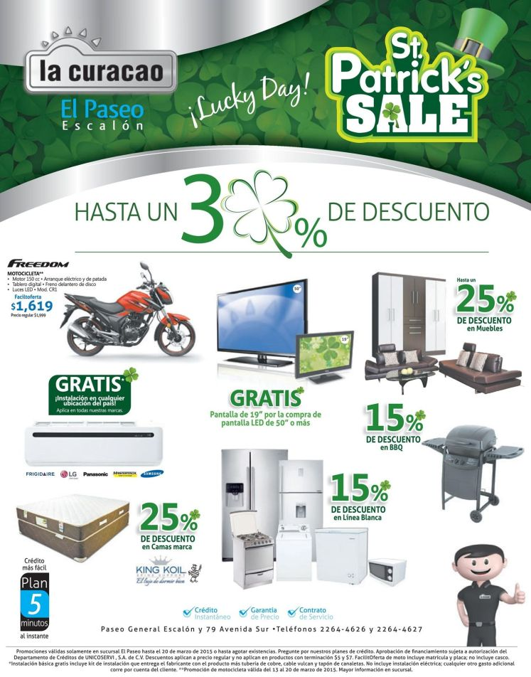 LA CURACAO promotions St Patrick DAY SALE - 13mar15