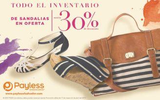 PAYLESS sandalias en ofertas 30 OFF todo el inventario - 27mar15