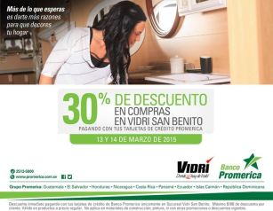 VIDRI san benito con 30 OFF gracias a BANCO Promerica - 13mar15