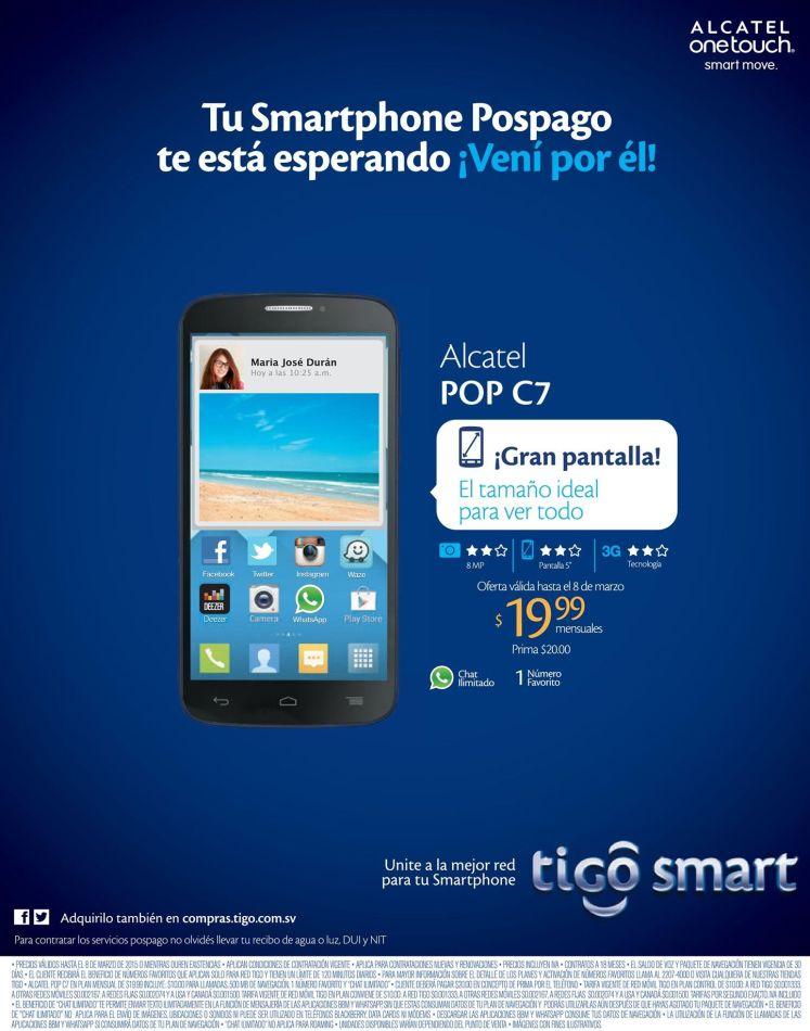 promociones smartphone alcatel C7 de tigo - 04mar15