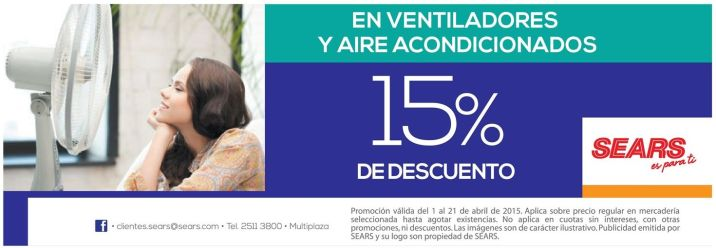 Aires acondiconados y ventiladores con descuentos sears - 02abr15