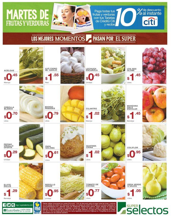 Aqui estan las frutas y verduras del super selectos - 28abr15