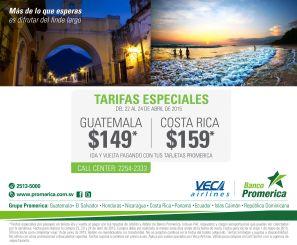 Banco Promerica promociones descuento s el boletos aereso VECA AIRLINES