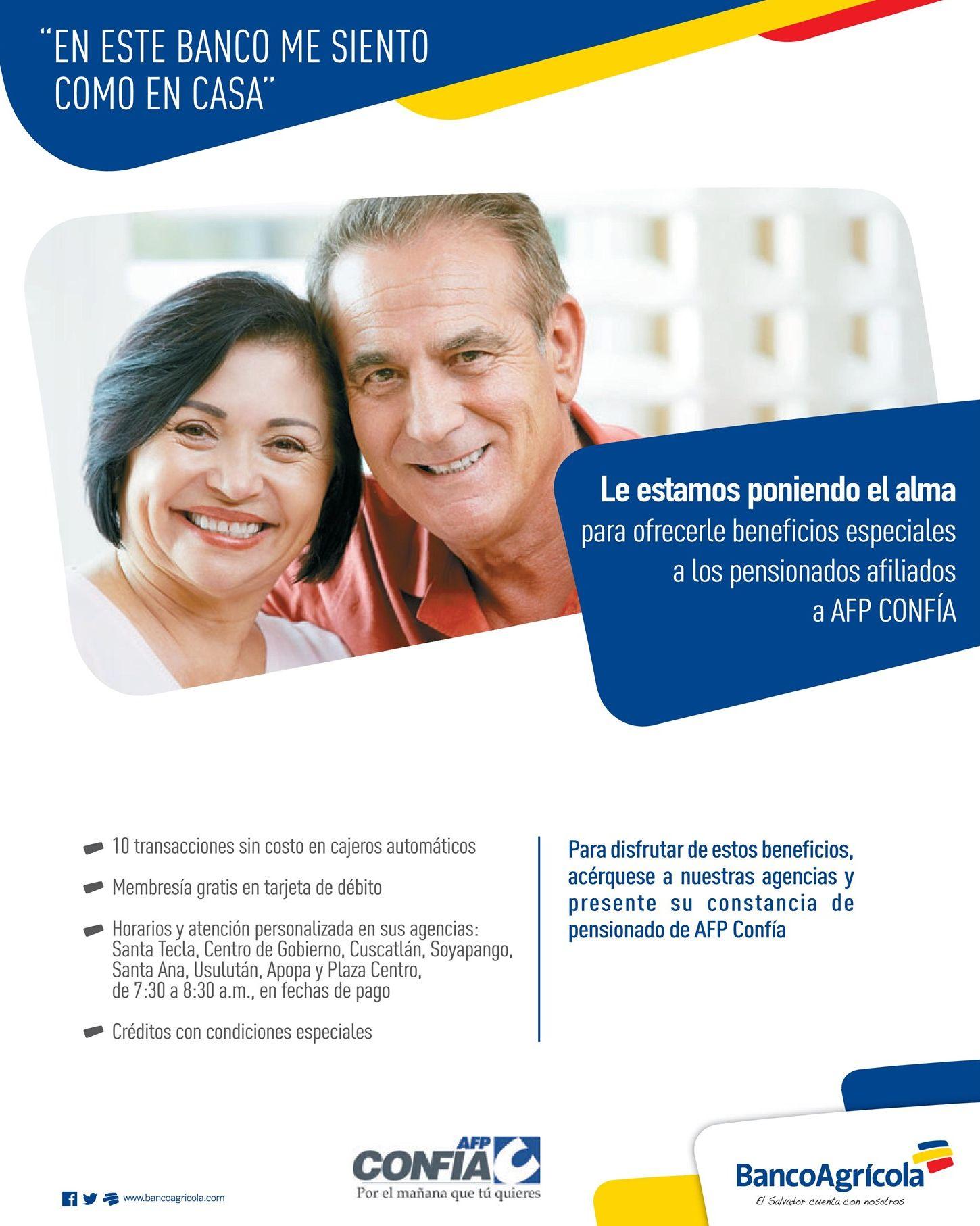 Beneficios financieros para personaas PENSIONADAS AFP confia el salvador