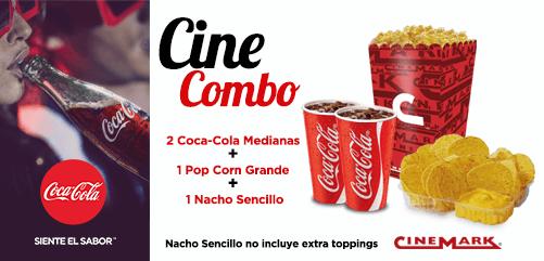 CINE COMBO de cinemark 2 coca cola POPCORN y nacho sencillo