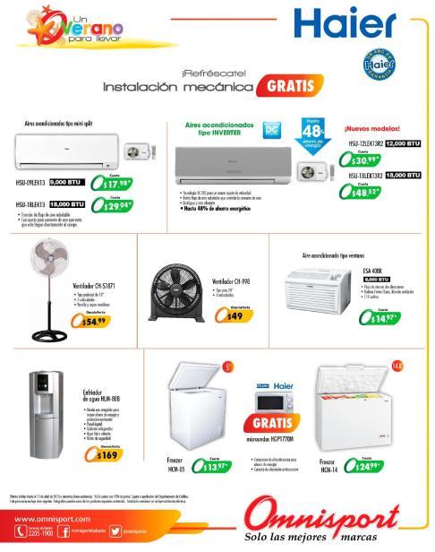 Instalacion gratis de tu AIRE acondicionado HAIER ofertas Omnisport