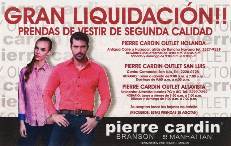 Liquidacion de prendas de vetir PIERE CARDIN - 16abr15