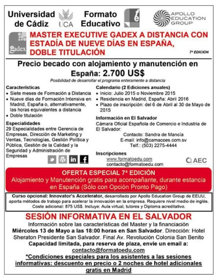 Master executive GADEX  a distancia SPAIN university