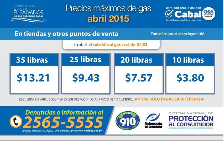 Precios maximos de gas licuado abril 2015 el salvador