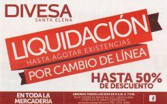 Toda la mercaderia en venta hasta con 50 OFF Liquidacion DIVESA - 17abr15