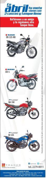 Tus motos suzuki en abril vienen con 2 cascos y tanque lleno