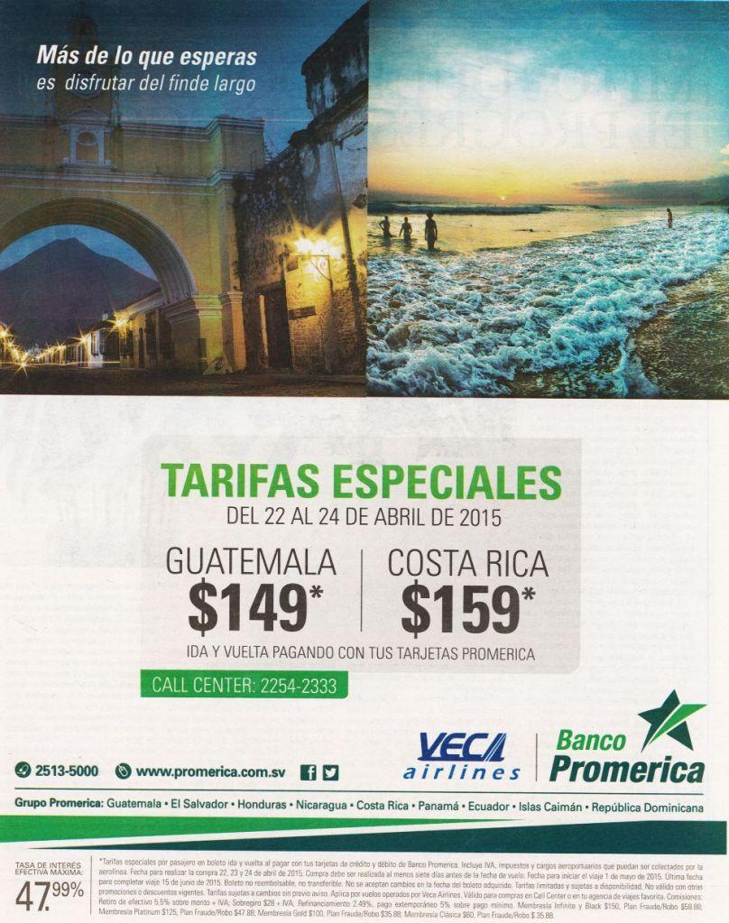 VECA Airlines promocion tarifas especiales GUATEMALA y COSTA RICA - 23abr15