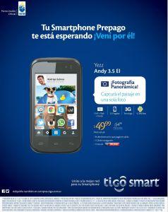 smartphone TIGO desde 49.99 doalres YEZZ andy