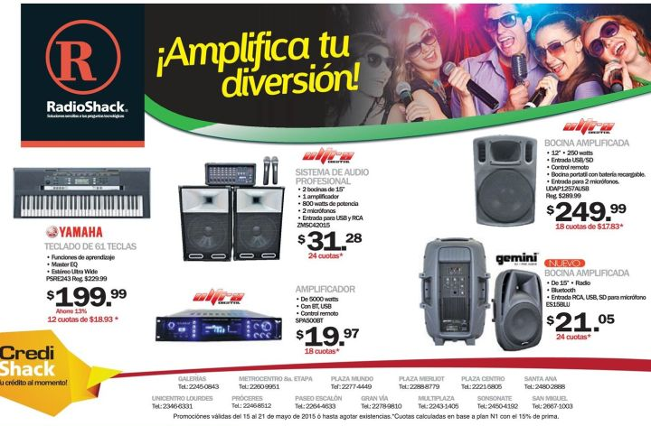 Amplificadores digitales para audio RADIO SHACK promociones - 15may15