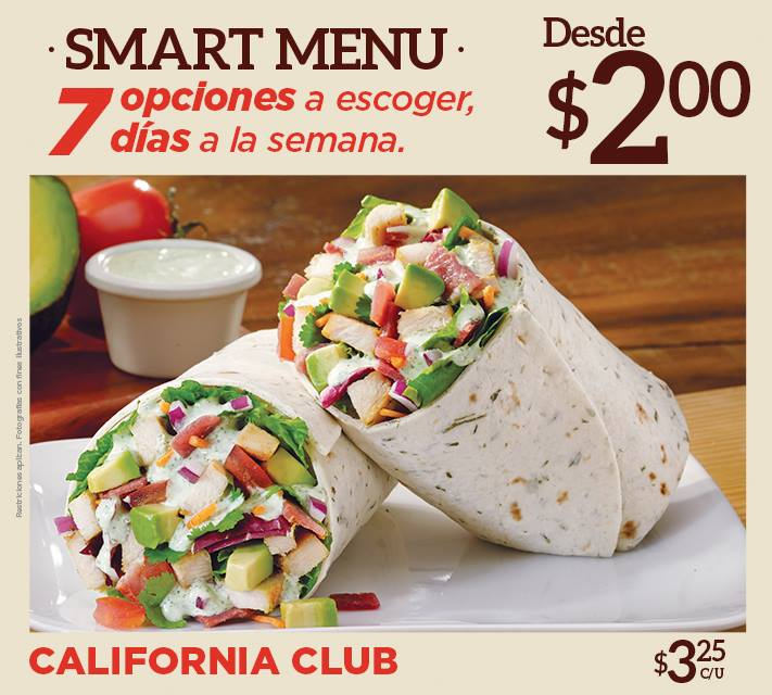 California CLUB smart menu de QUIZNOS desde 2 dolares