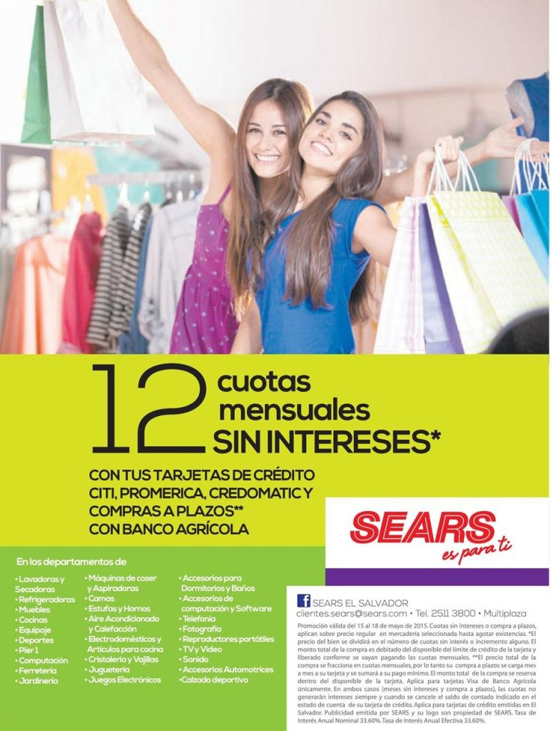 Cuotas sin intereses SEARS almacene - 15may15
