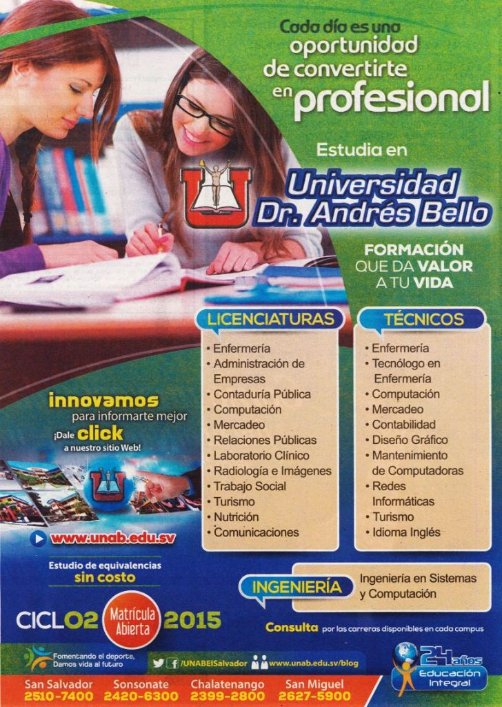Educacion integral UNIVERSIDAD el salvador Andres Bello