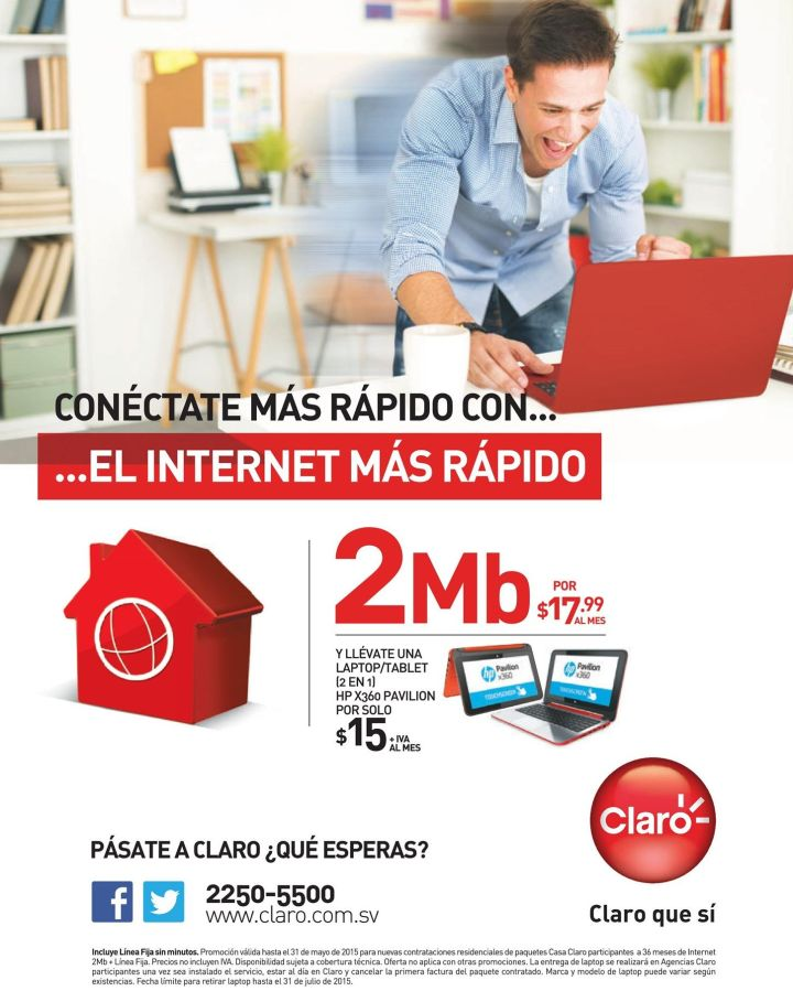 Internet CLARO promocion 2MB mas LAPTOP TABLET convertible