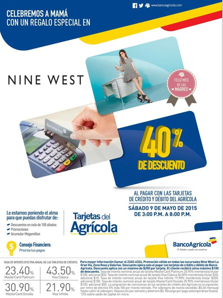 NINE WEST 40 off ahora con banco agricola - 09may15