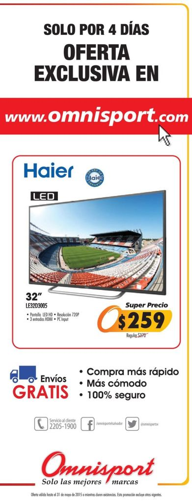 Oferta exclusiva ONLINE shopping TV LED haier by OMNISPORT - 28may15