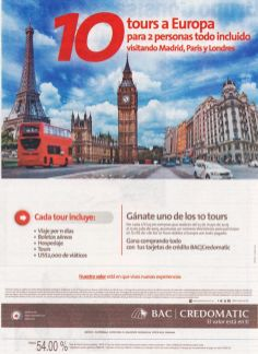 TOUR para europa ruta madrid londres y paris GRACIAS a Bac Credomatic