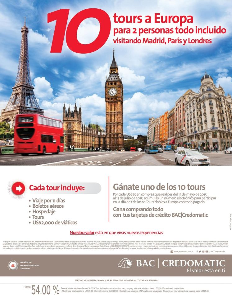Tours a EUROPA all inclusive MADRID PARIS LONDRES gracias BAC Credomatic