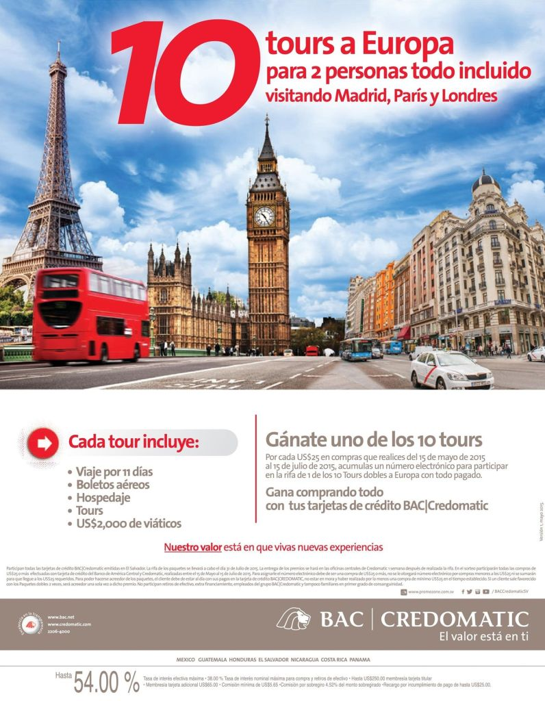 Tours a EUROPA all inclusive MADRID PARIS LONDRES gracias BAC Credomatic