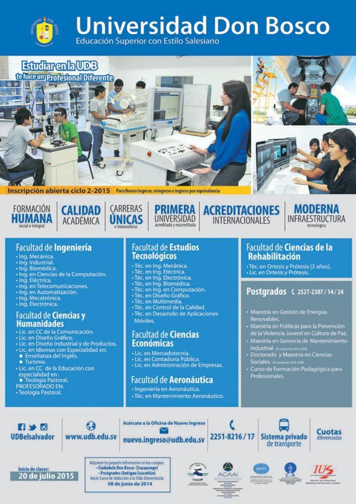 elsalvador UNIVERSIDAD don bosco oferta academica 2015