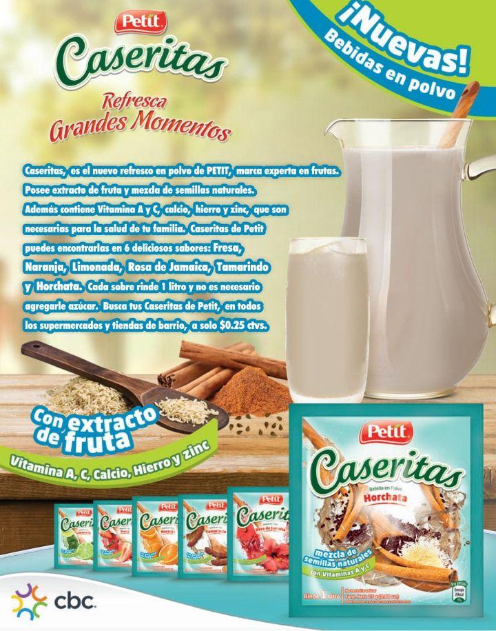 nuevas bebidas en polvo PETIT caseritas con extracto de fruta y vitaminas
