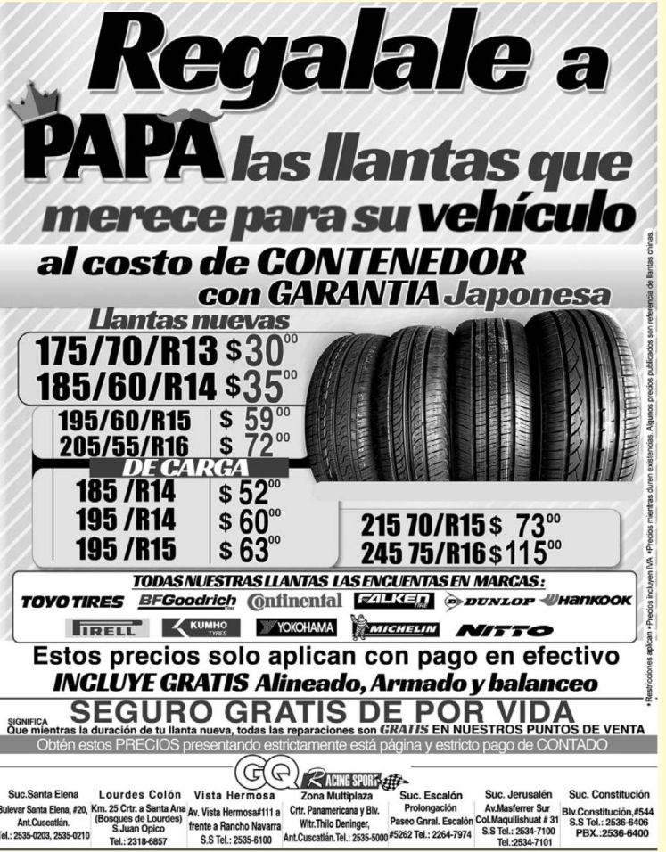 Cambiale la llastas al auto de PAPA con esta promocion