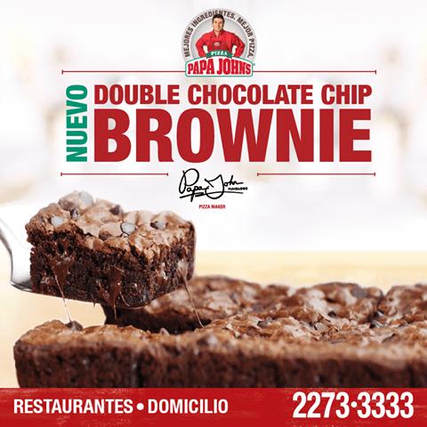 new Double chocolate BROWNIE en papa johns