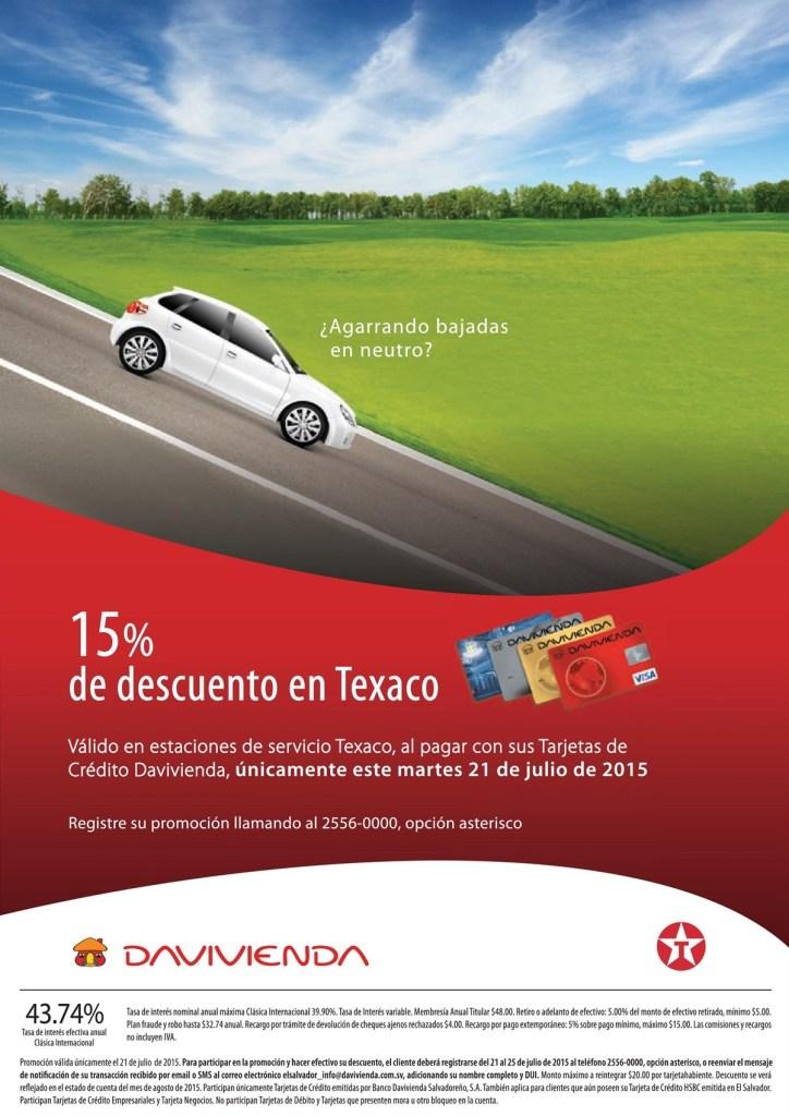Ahora martes 15 OFF en gasolina TEXACO con tarjetas davivienda - 21jul15