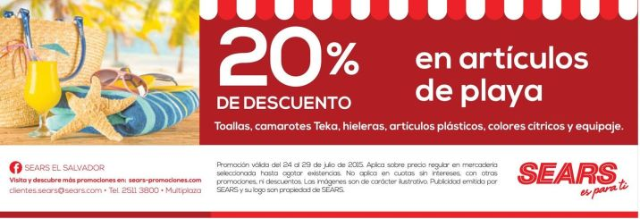 Articulos de playa con 20 OFF gracias a sEaRS - 24jul15