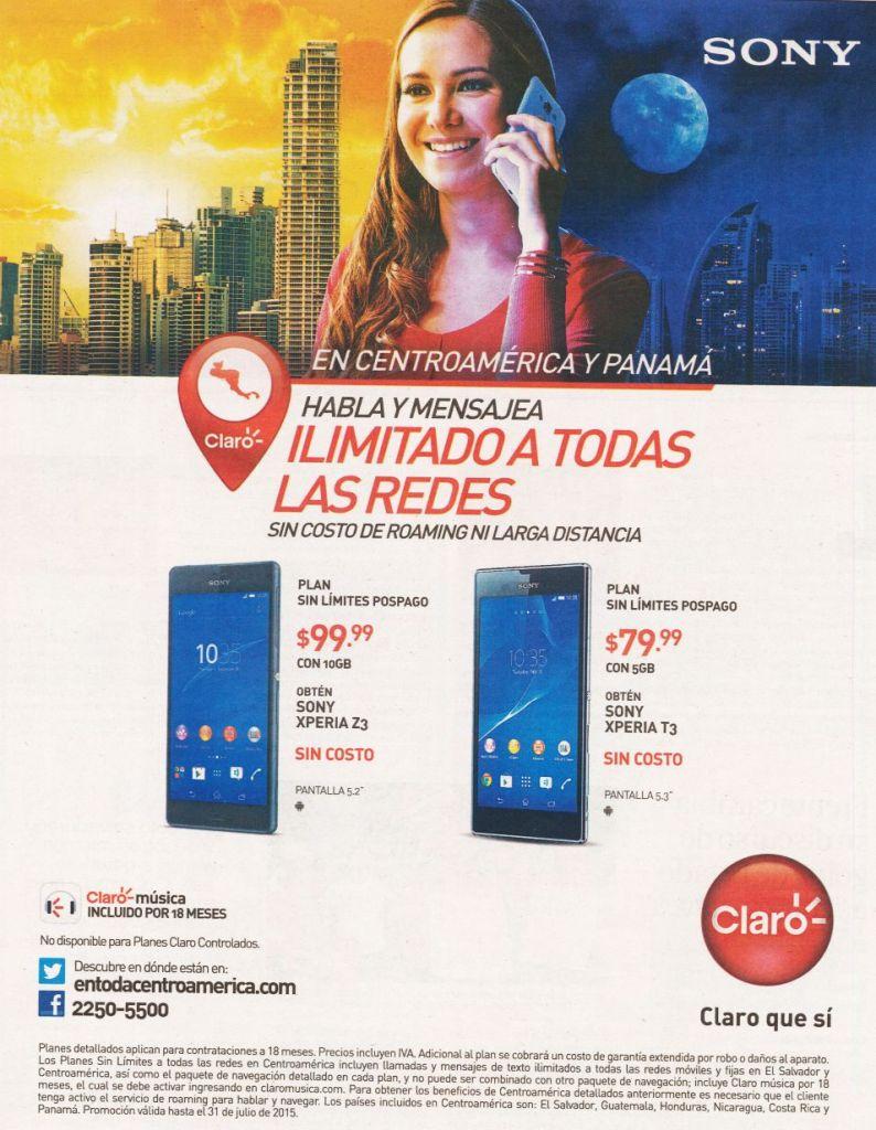 CLARO centromerica sin costo adicional en romaing ni llamadas internacionales