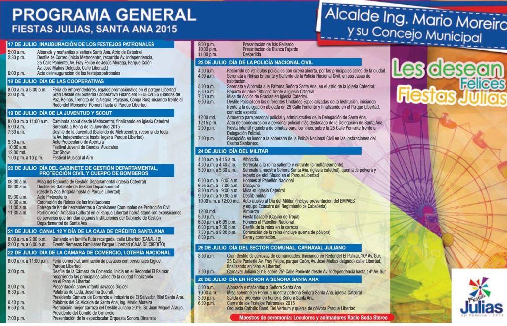 Fiestas Julias SANTA ANA 2015