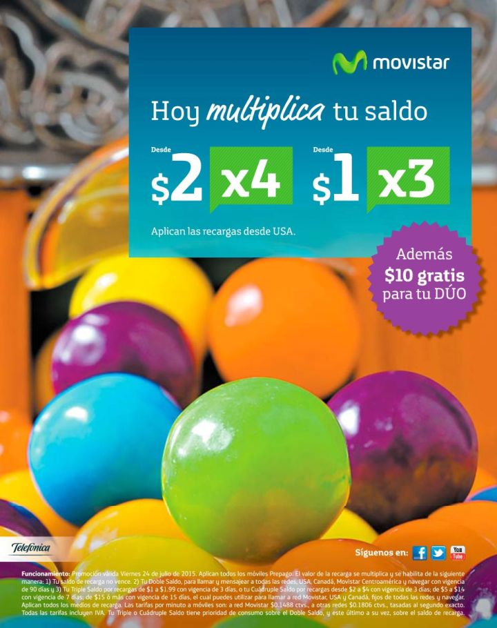 Hoy MULTIPICA tu saldo MOVISTAR - 24jul15
