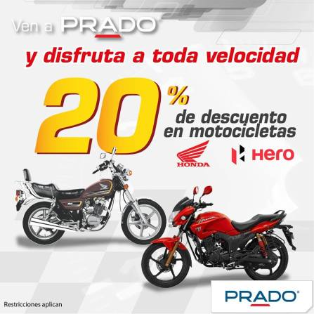 Motos HONDA and HERO con 20 OFF gracias PRADO