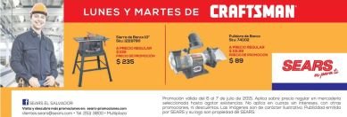 Recuerda CRAFTSMAN tool offer monday by SEARS