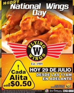 TODAY enjoy happy national wings day 50 centavos cada alita