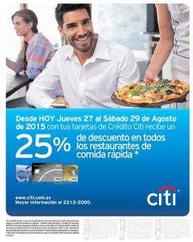 CITI credit card 25 off en todos los restaurantes de comida rapida