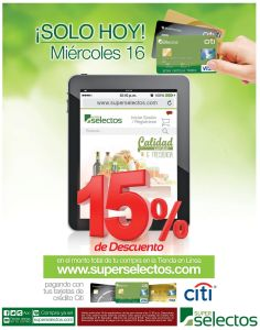 ATENCION solo hoy en SUPER SELECTOS online 15 OFF - 16sep15