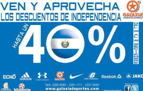 Descuentos de independecnia en GALAXIA deportes