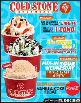 Disfruta de ub verdadero helado COLD STONE creamery