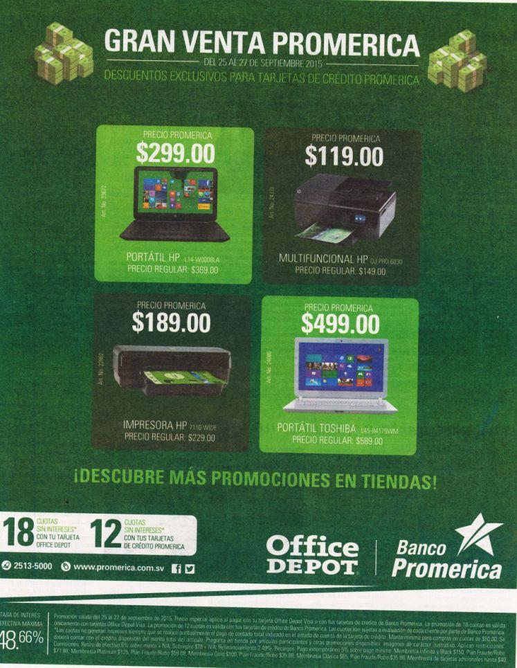 Gran venta promerica TECNOLOGIA en Office depot elsalvador - 25sep15